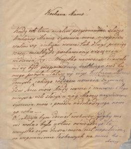 Józef Kruszyński do Matki Ludwiki z Wilczyckich 1829 rok 1