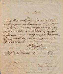 Józef Kruszyński do Matki Ludwiki z Wilczyckich 1829 rok rok 2