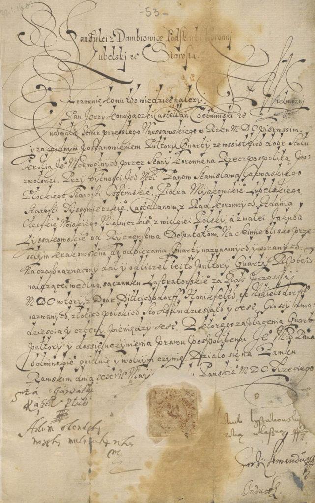 Kasztelan Chełmiński Konopacki Kwarta za rok 1603