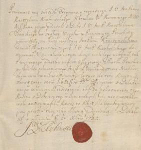 Generał Rybiński kwituje Kruszyńskiego z dóbr Malborskich 1712 rok