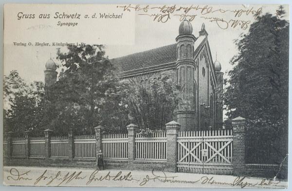 Pocztówka od Huldy Jacobsohn do Ericha Hirschberga (1893–1918) z widokiem na nową synagogę w Schwetz