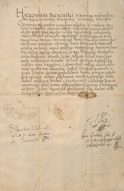 Kwarta dla Rzeczypospolitej kwitowana roku 1571 za Nikielsdorf