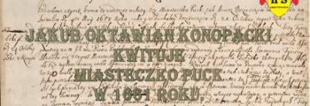 Jakub Oktawian kwituje miasteczko Puck w 1661 roku.