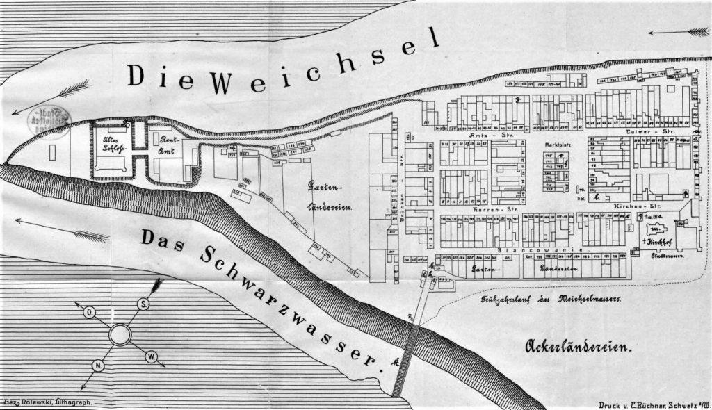Plan starego miasta Świecia w rozlewisku Wisły oraz Wdy