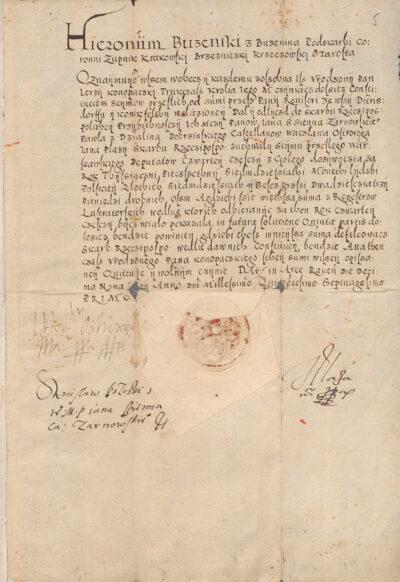 Kwarta dla Rzeczypospolitej kwitowana roku 1571 Honikfelt i Dytrichssdorf