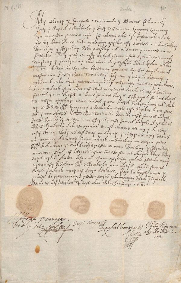 Spotkanie spadkowe Konopackich w Grudziądzu roku 1611