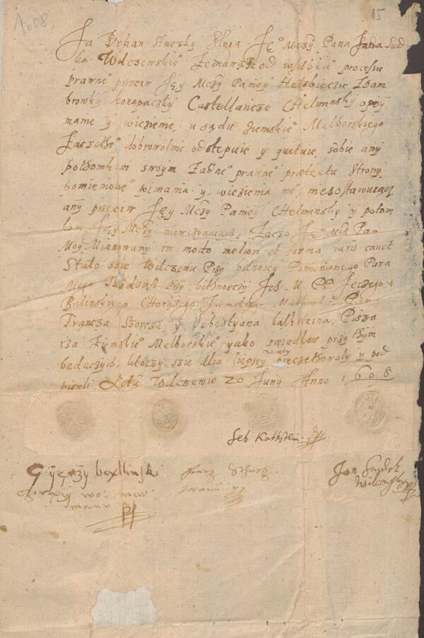 Kasacja zeznania przeciwko Elżbiecie z Dombrówki 1608 rok