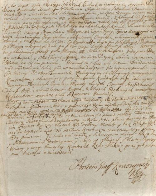 Kruszyński wydzierżawia 24 ha lasu w Konopacie 1748 roku