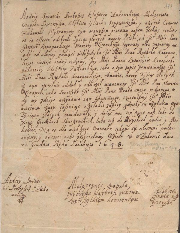 Kwit darowizny spadkowej dla klasztoru w Żukowie 1648 rok