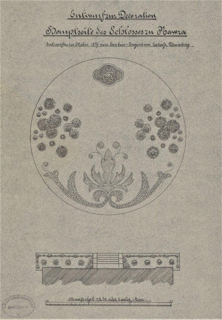 Projekt do dekoracji klombu od strony wejścia pałacu w Nawrze autor Johannes Larass marzec 1897