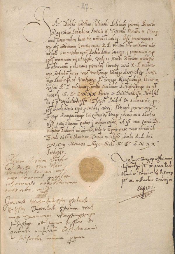Kwarta do skarbu koronnego przez Jerzego III w 1587 dana