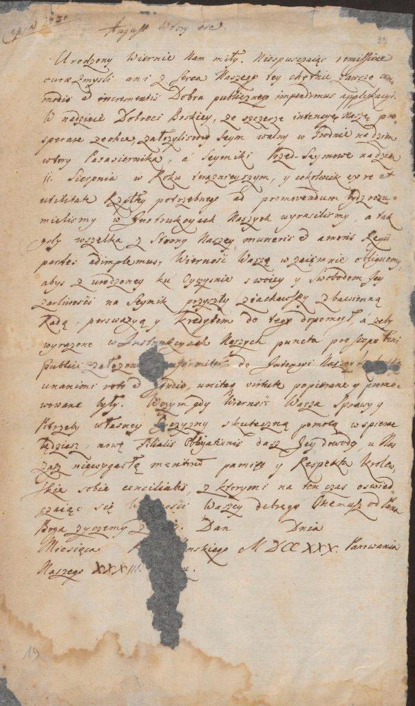 Król August II do posła na sejm w Grodnie 1730 roku
