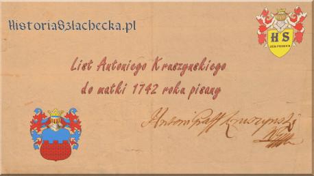 List Antoniego Kruszyńskiego do matki 1742 roku pisany