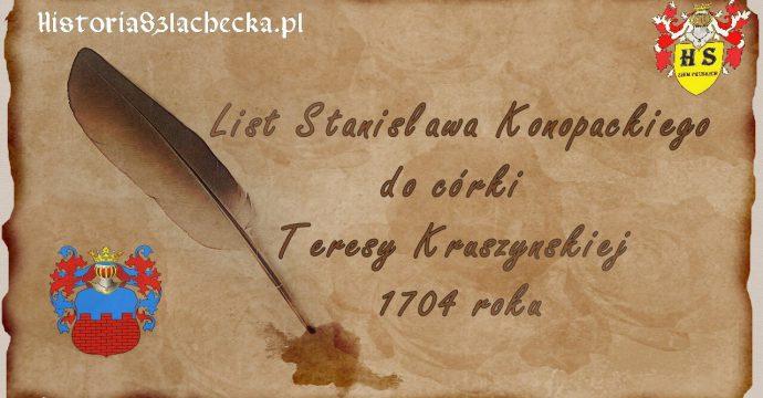 List Stanisława do córki Teresy Kruszyńskiej 1704 roku